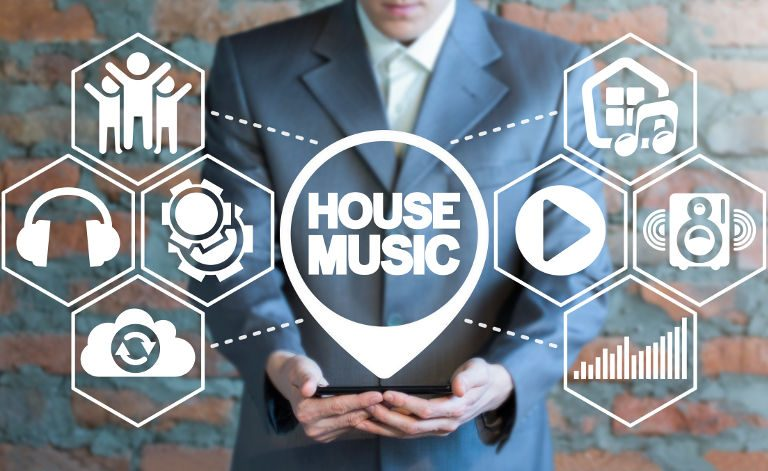 graphic displaying whole house music